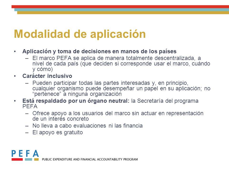Evaluaciones del programa PEFA: tendencia de aplicación