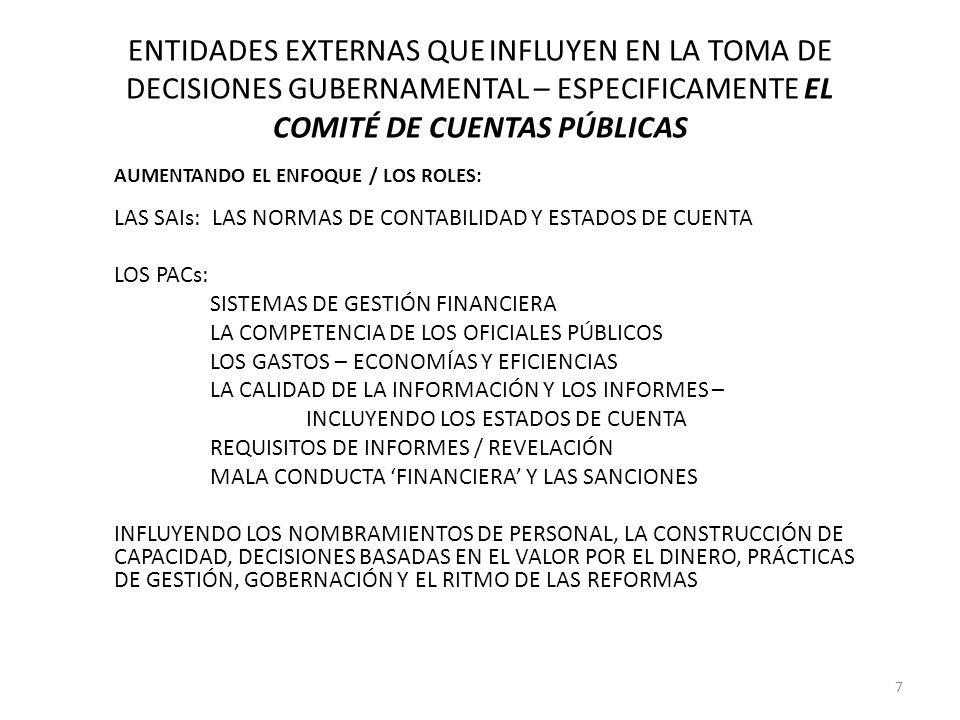 ENTIDADES EXTERNAS QUE INFLUYEN EN LA TOMA DE DECISIONES GUBERNAMENTAL – ESPECIFICAMENTE EL COMITÉ DE CUENTAS PÚBLICAS AUMENTANDO EL ENFOQUE / LOS ROL