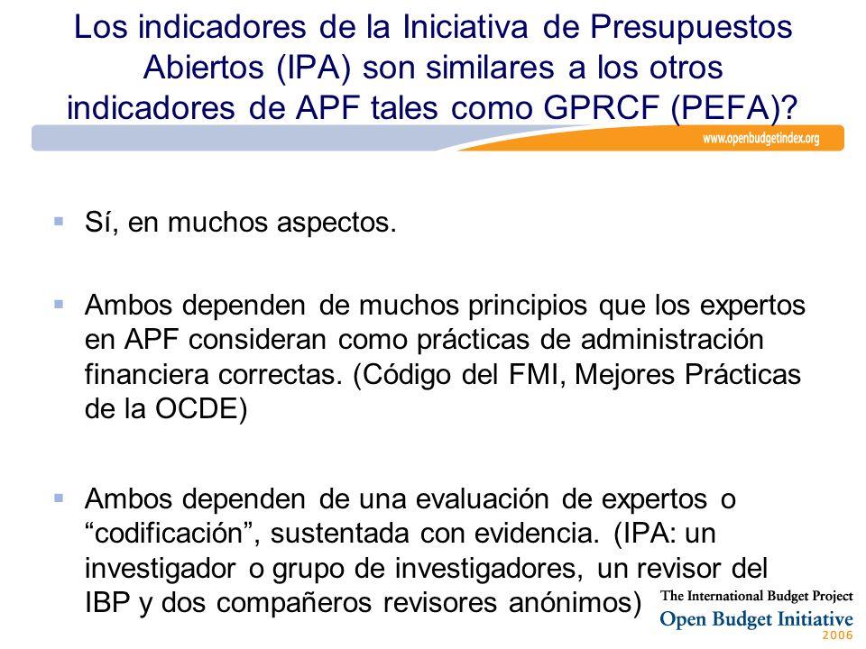 Los indicadores de la Iniciativa de Presupuestos Abiertos (IPA) son similares a los otros indicadores de APF tales como GPRCF (PEFA)? Sí, en muchos as