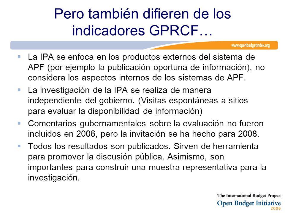 Pero también difieren de los indicadores GPRCF… La IPA se enfoca en los productos externos del sistema de APF (por ejemplo la publicación oportuna de información), no considera los aspectos internos de los sistemas de APF.