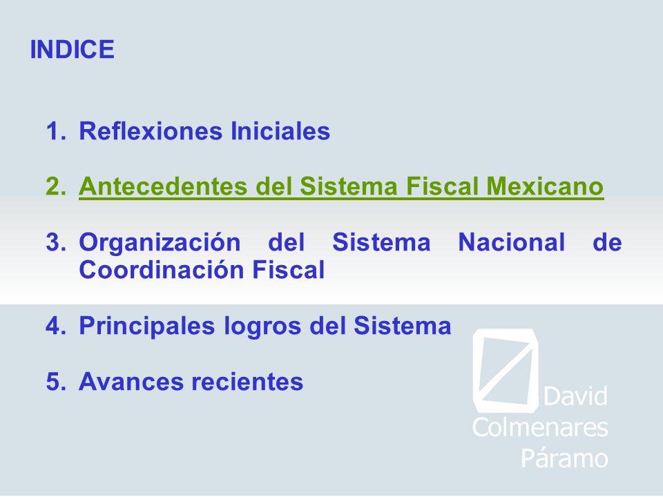 1.Reflexiones Iniciales 2.Antecedentes del Sistema Fiscal Mexicano 3.Organización del Sistema Nacional de Coordinación Fiscal 4.Principales logros del