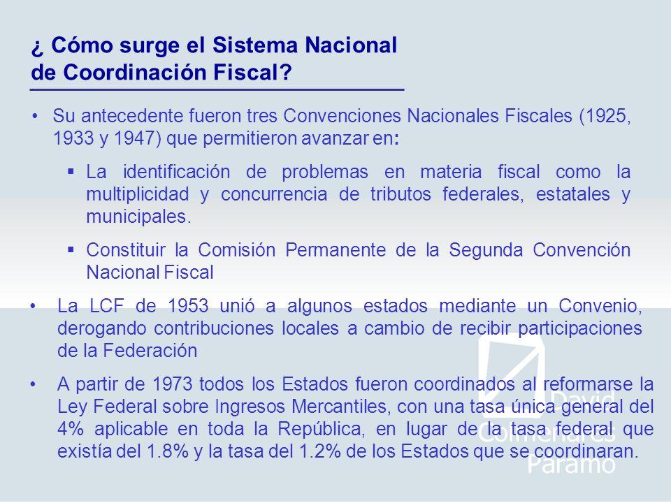 ¿ Cómo surge el Sistema Nacional de Coordinación Fiscal? Su antecedente fueron tres Convenciones Nacionales Fiscales (1925, 1933 y 1947) que permitier