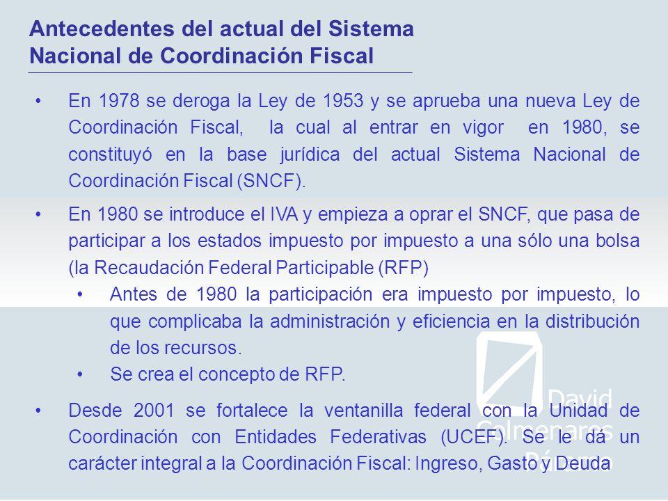 En 1978 se deroga la Ley de 1953 y se aprueba una nueva Ley de Coordinación Fiscal, la cual al entrar en vigor en 1980, se constituyó en la base juríd