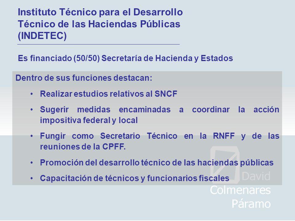 Instituto Técnico para el Desarrollo Técnico de las Haciendas Públicas (INDETEC) Es financiado (50/50) Secretaría de Hacienda y Estados Dentro de sus