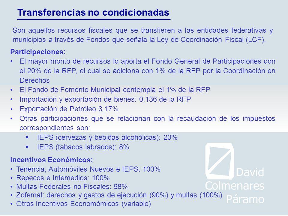 Transferencias no condicionadas Participaciones: El mayor monto de recursos lo aporta el Fondo General de Participaciones con el 20% de la RFP, el cua