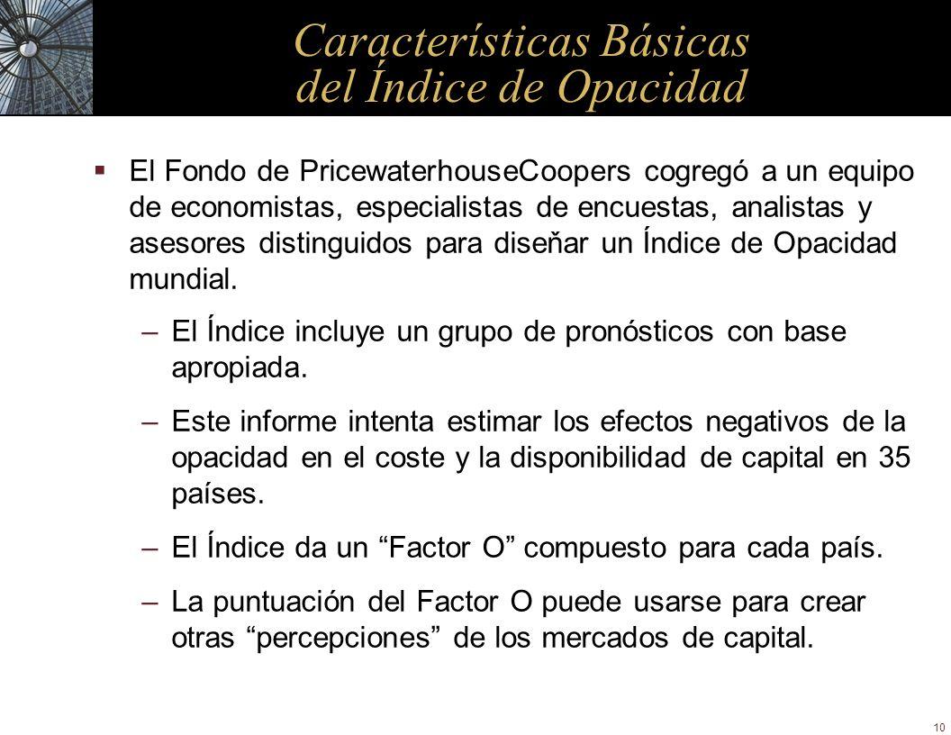 10 Características Básicas del Índice de Opacidad El Fondo de PricewaterhouseCoopers cogregó a un equipo de economistas, especialistas de encuestas, a