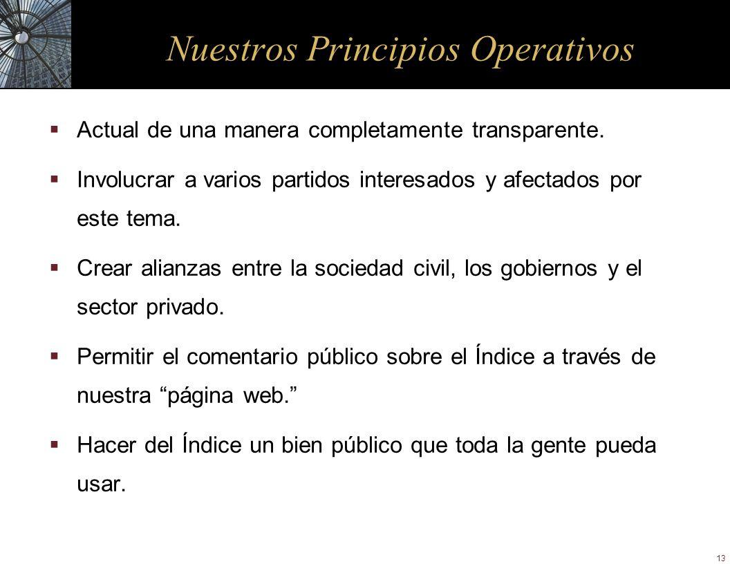 13 Nuestros Principios Operativos Actual de una manera completamente transparente. Involucrar a varios partidos interesados y afectados por este tema.