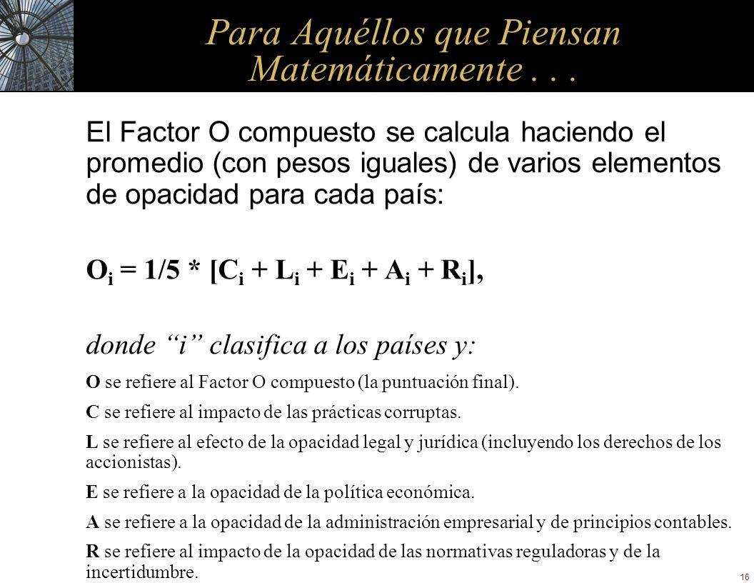 16 Para Aquéllos que Piensan Matemáticamente... El Factor O compuesto se calcula haciendo el promedio (con pesos iguales) de varios elementos de opaci
