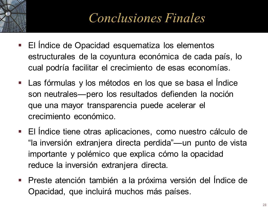 28 Conclusiones Finales El Índice de Opacidad esquematiza los elementos estructurales de la coyuntura económica de cada país, lo cual podría facilitar