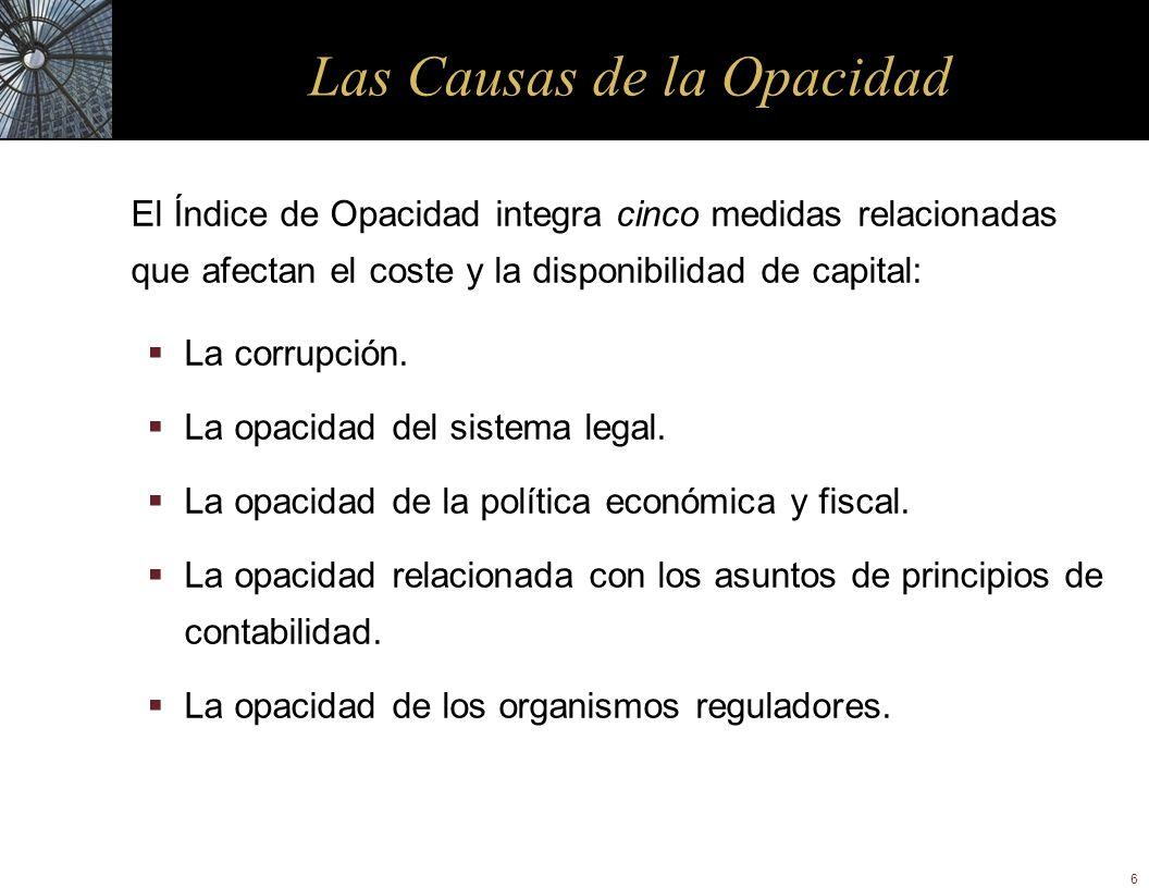 6 Las Causas de la Opacidad El Índice de Opacidad integra cinco medidas relacionadas que afectan el coste y la disponibilidad de capital: La corrupció