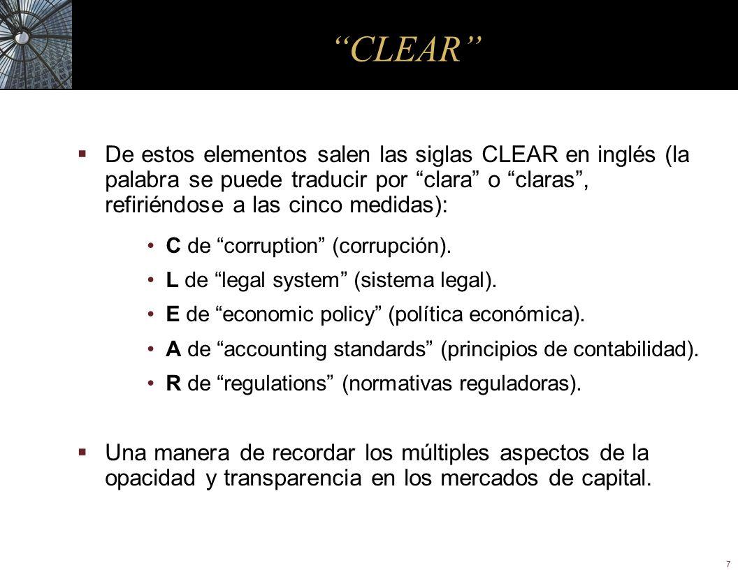 7 CLEAR De estos elementos salen las siglas CLEAR en inglés (la palabra se puede traducir por clara o claras, refiriéndose a las cinco medidas): C de