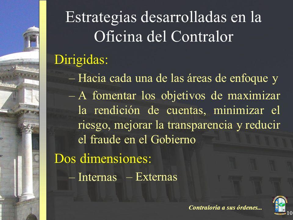 Contraloría a sus órdenes... 10 Estrategias desarrolladas en la Oficina del Contralor Dirigidas: –Hacia cada una de las áreas de enfoque y –A fomentar