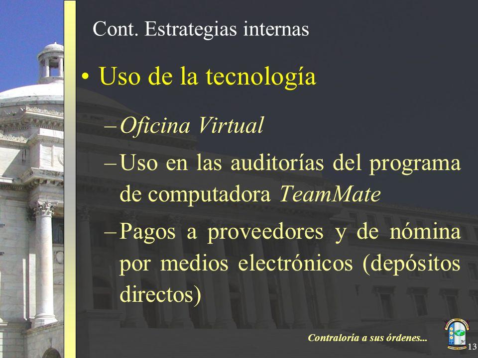 Contraloría a sus órdenes... 13 Cont. Estrategias internas Uso de la tecnología –Oficina Virtual –Uso en las auditorías del programa de computadora Te