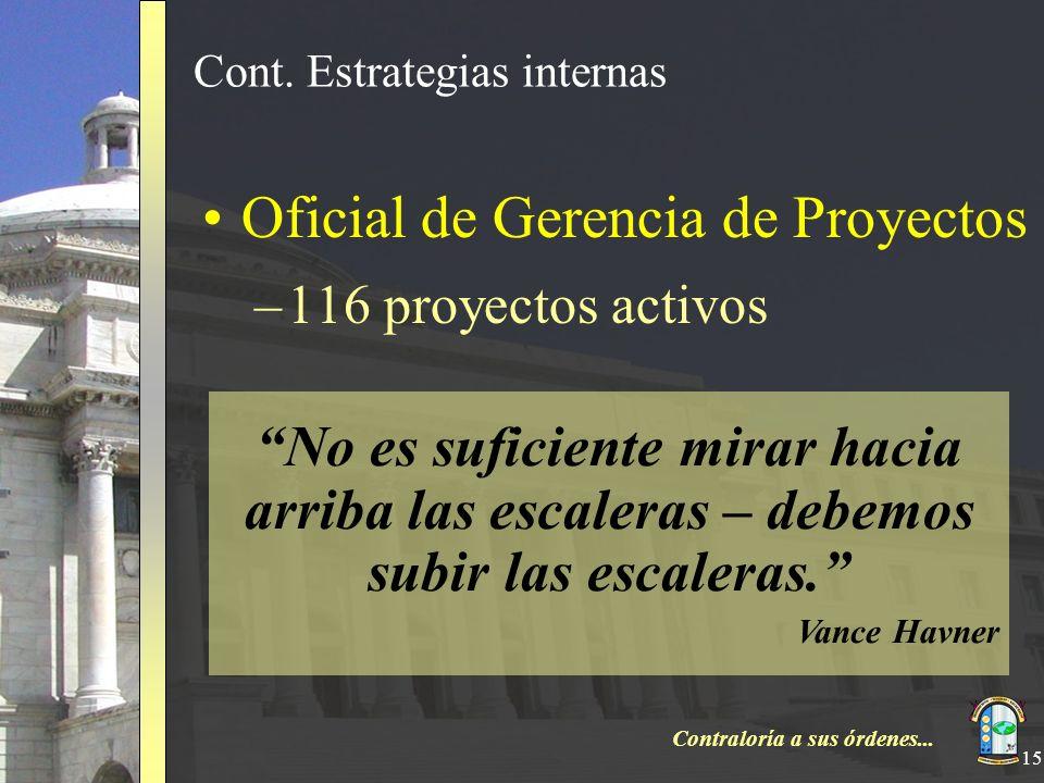 Contraloría a sus órdenes... 15 Cont. Estrategias internas Oficial de Gerencia de Proyectos –116 proyectos activos No es suficiente mirar hacia arriba