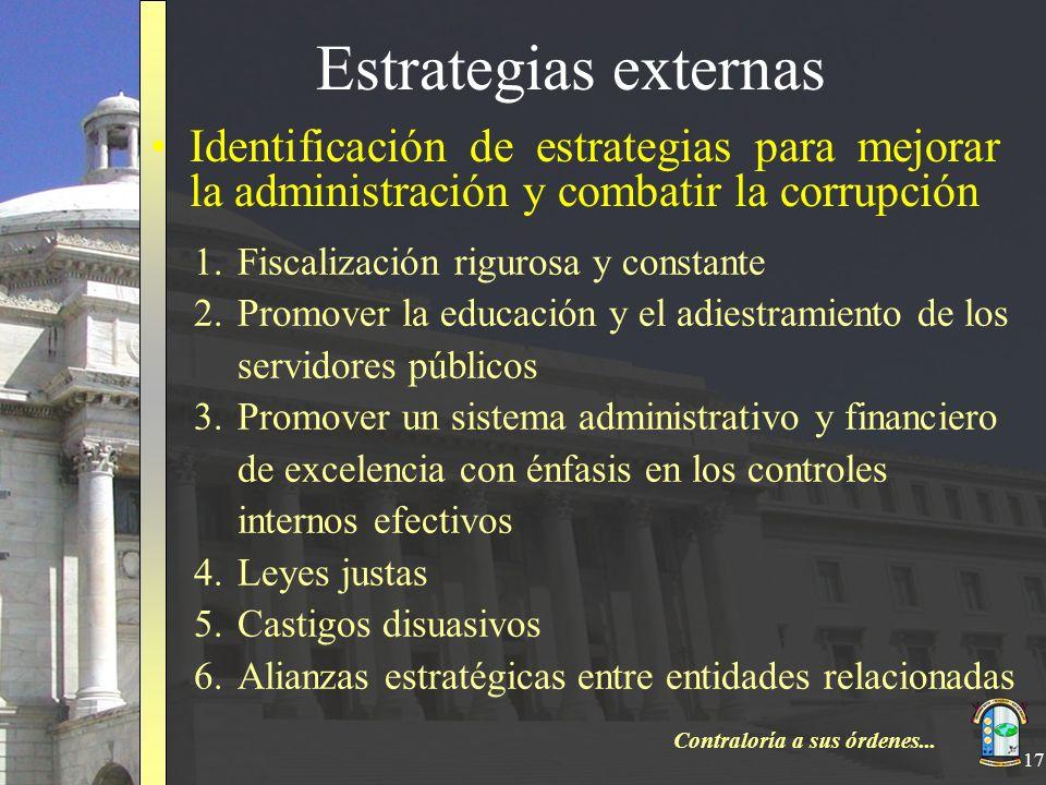 Contraloría a sus órdenes... 17 Estrategias externas Identificación de estrategias para mejorar la administración y combatir la corrupción 1.Fiscaliza