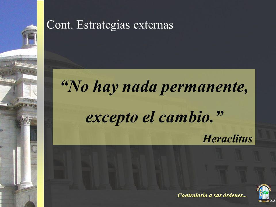 Contraloría a sus órdenes... 22 Cont. Estrategias externas No hay nada permanente, excepto el cambio. Heraclitus