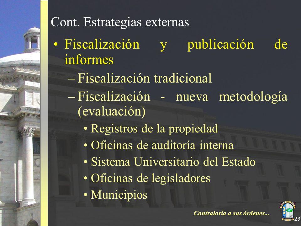 Contraloría a sus órdenes... 23 Cont. Estrategias externas Fiscalización y publicación de informes –Fiscalización tradicional –Fiscalización - nueva m
