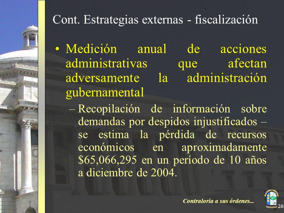 Contraloría a sus órdenes... 26 Cont. Estrategias externas - fiscalización Medición anual de acciones administrativas que afectan adversamente la admi