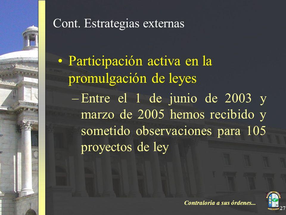 Contraloría a sus órdenes... 27 Cont. Estrategias externas Participación activa en la promulgación de leyes –Entre el 1 de junio de 2003 y marzo de 20