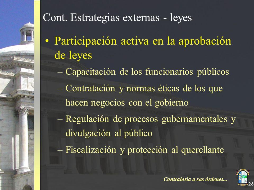Contraloría a sus órdenes... 28 Cont. Estrategias externas - leyes Participación activa en la aprobación de leyes –Capacitación de los funcionarios pú
