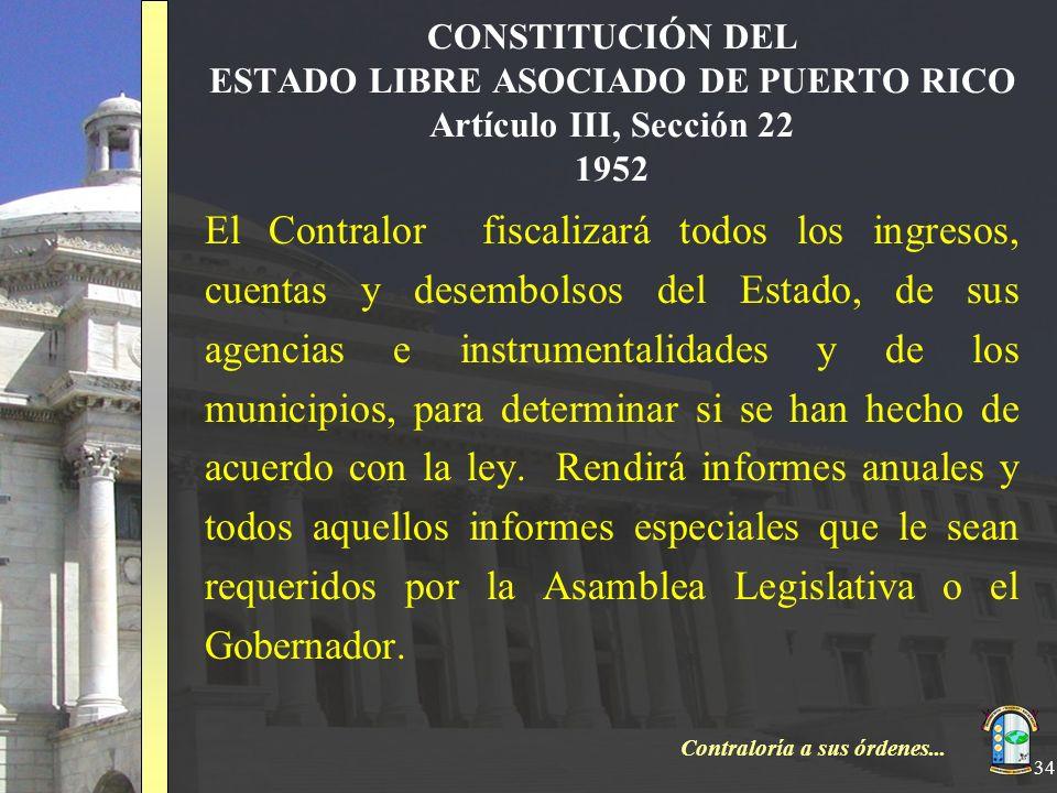 Contraloría a sus órdenes... 34 CONSTITUCIÓN DEL ESTADO LIBRE ASOCIADO DE PUERTO RICO Artículo III, Sección 22 1952 El Contralor fiscalizará todos los