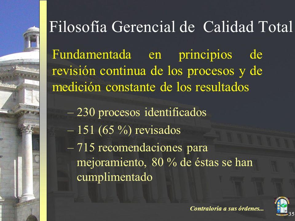 Contraloría a sus órdenes... 35 Filosofía Gerencial de Calidad Total Fundamentada en principios de revisión continua de los procesos y de medición con