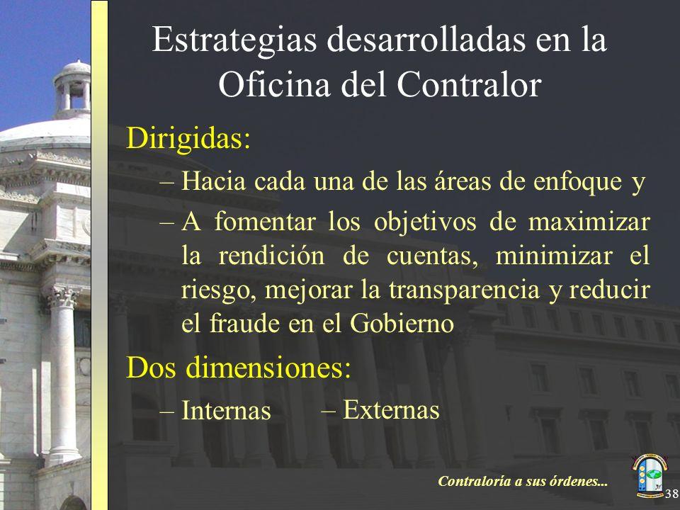 Contraloría a sus órdenes... 38 Estrategias desarrolladas en la Oficina del Contralor Dirigidas: –Hacia cada una de las áreas de enfoque y –A fomentar