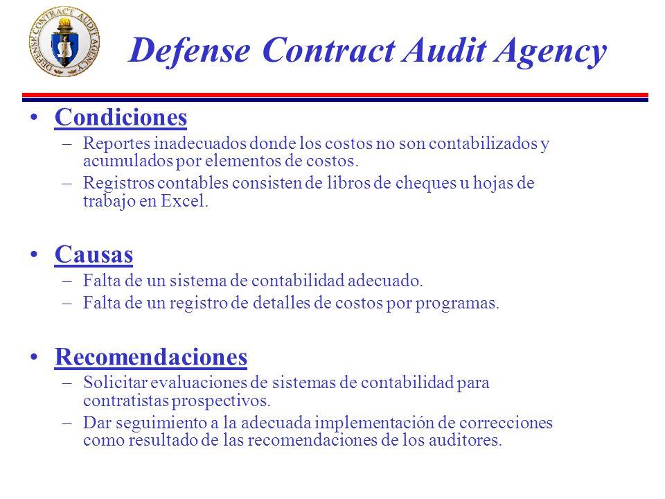 Condiciones –Reportes inadecuados donde los costos no son contabilizados y acumulados por elementos de costos.