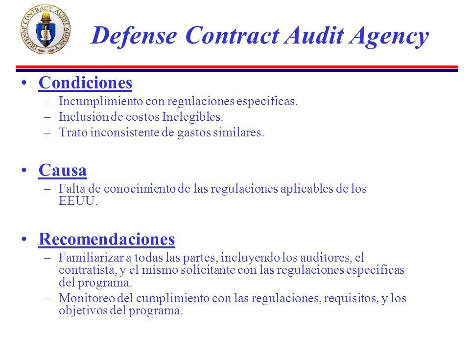 Condiciones –Incumplimiento con regulaciones especificas.