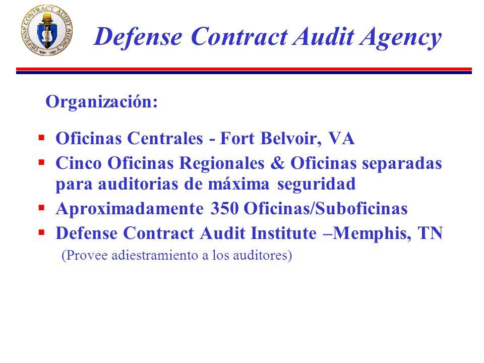 Oficinas Centrales - Fort Belvoir, VA Cinco Oficinas Regionales & Oficinas separadas para auditorias de máxima seguridad Aproximadamente 350 Oficinas/
