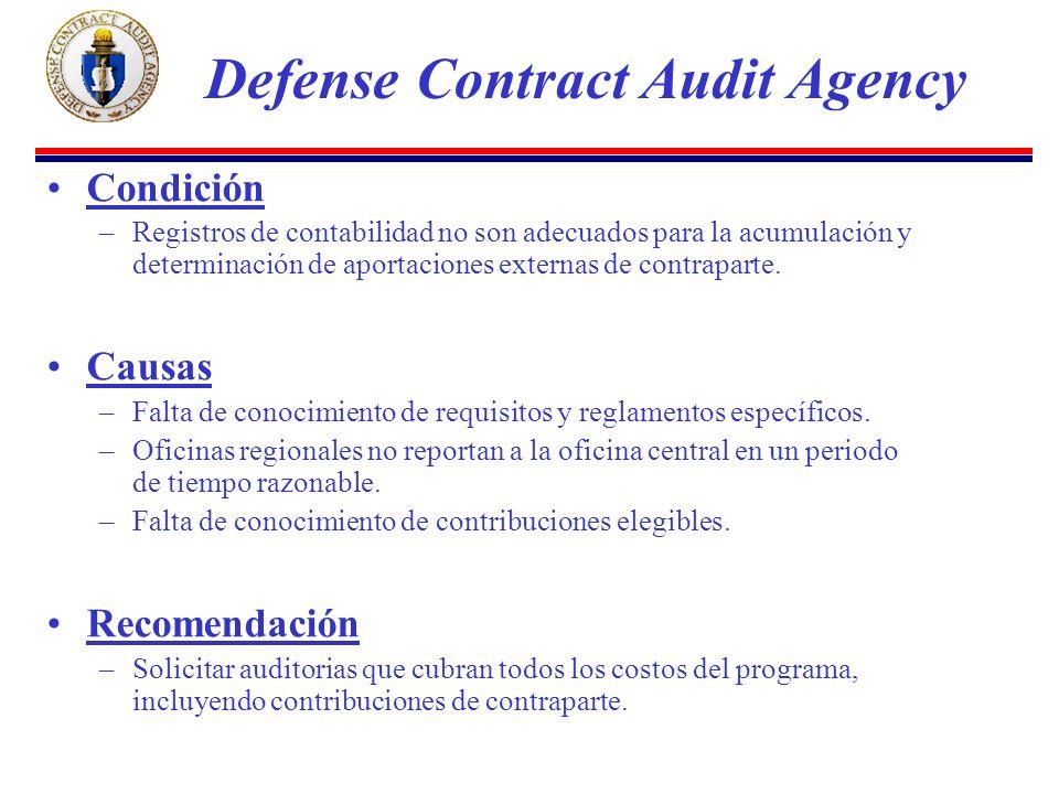 Condición –Registros de contabilidad no son adecuados para la acumulación y determinación de aportaciones externas de contraparte.