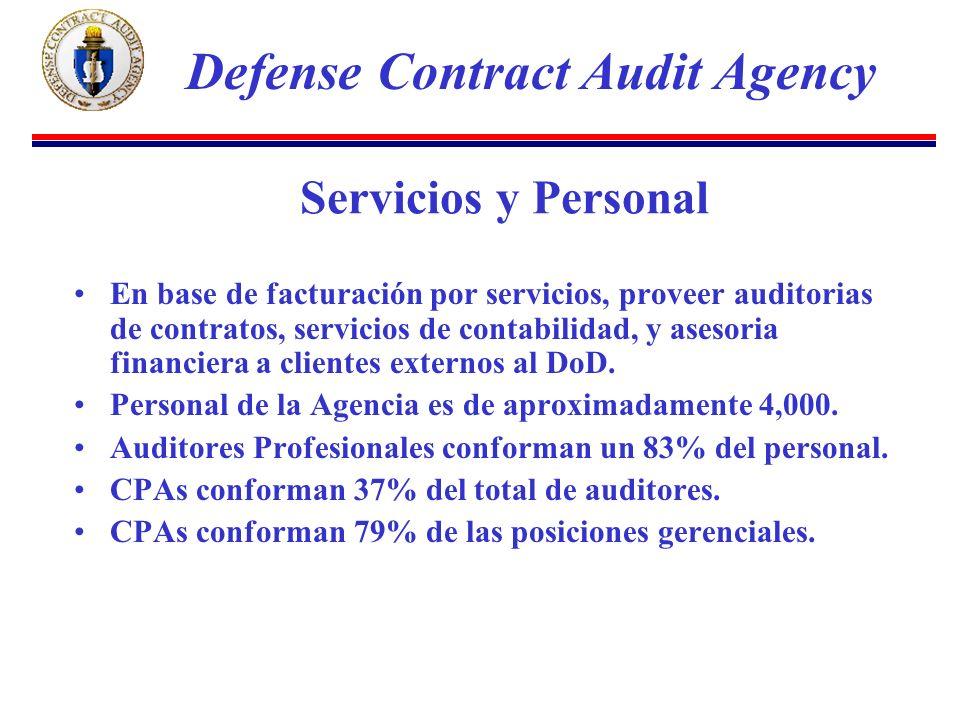 Servicios y Personal En base de facturación por servicios, proveer auditorias de contratos, servicios de contabilidad, y asesoria financiera a clientes externos al DoD.
