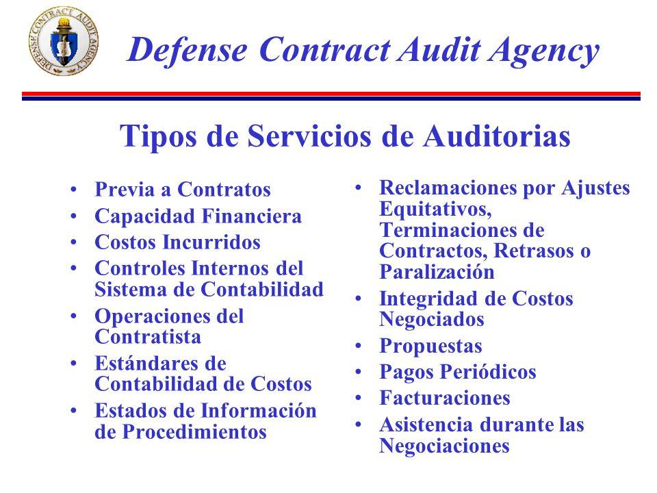 Tipos de Servicios de Auditorias Previa a Contratos Capacidad Financiera Costos Incurridos Controles Internos del Sistema de Contabilidad Operaciones del Contratista Estándares de Contabilidad de Costos Estados de Información de Procedimientos Reclamaciones por Ajustes Equitativos, Terminaciones de Contractos, Retrasos o Paralización Integridad de Costos Negociados Propuestas Pagos Periódicos Facturaciones Asistencia durante las Negociaciones Defense Contract Audit Agency