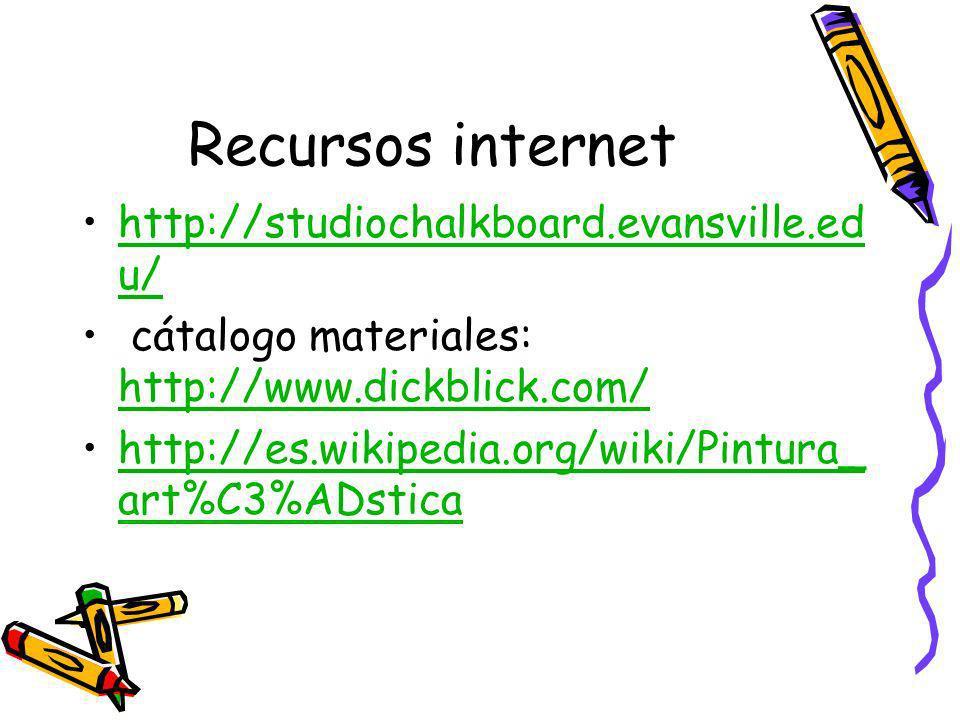 Recursos internet http://studiochalkboard.evansville.ed u/http://studiochalkboard.evansville.ed u/ cátalogo materiales: http://www.dickblick.com/ http://www.dickblick.com/ http://es.wikipedia.org/wiki/Pintura_ art%C3%ADsticahttp://es.wikipedia.org/wiki/Pintura_ art%C3%ADstica