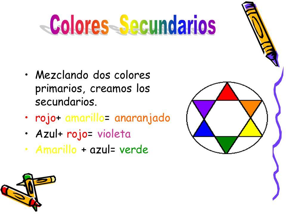 Mezclando dos colores primarios, creamos los secundarios.