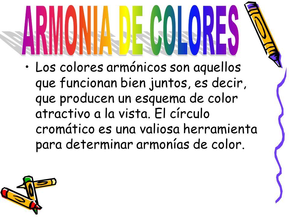 Los colores armónicos son aquellos que funcionan bien juntos, es decir, que producen un esquema de color atractivo a la vista.