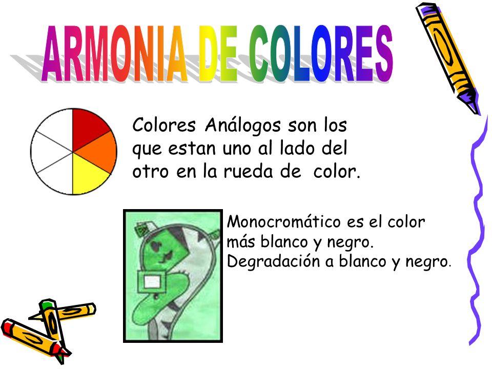 Colores Análogos son los que estan uno al lado del otro en la rueda de color.