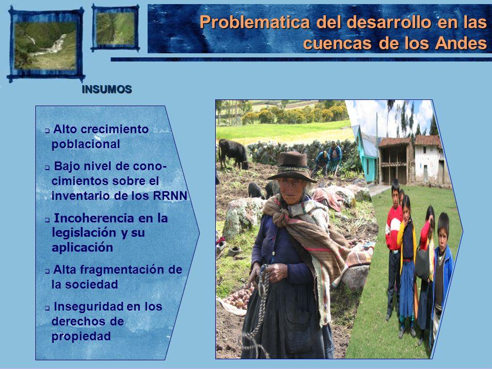 Problematica del desarrollo en las cuencas de los Andes INSUMOS Alto crecimiento poblacional Bajo nivel de cono- cimientos sobre el inventario de los