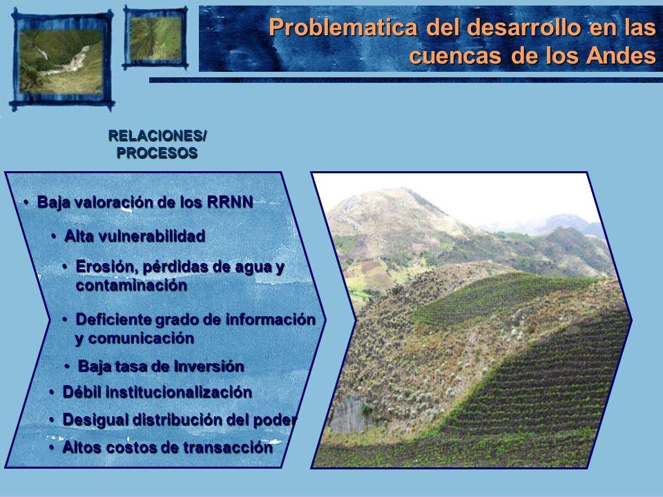 Baja valoración de los RRNNBaja valoración de los RRNN RELACIONES/PROCESOS Alta vulnerabilidadAlta vulnerabilidad Erosión, pérdidas de agua y contamin