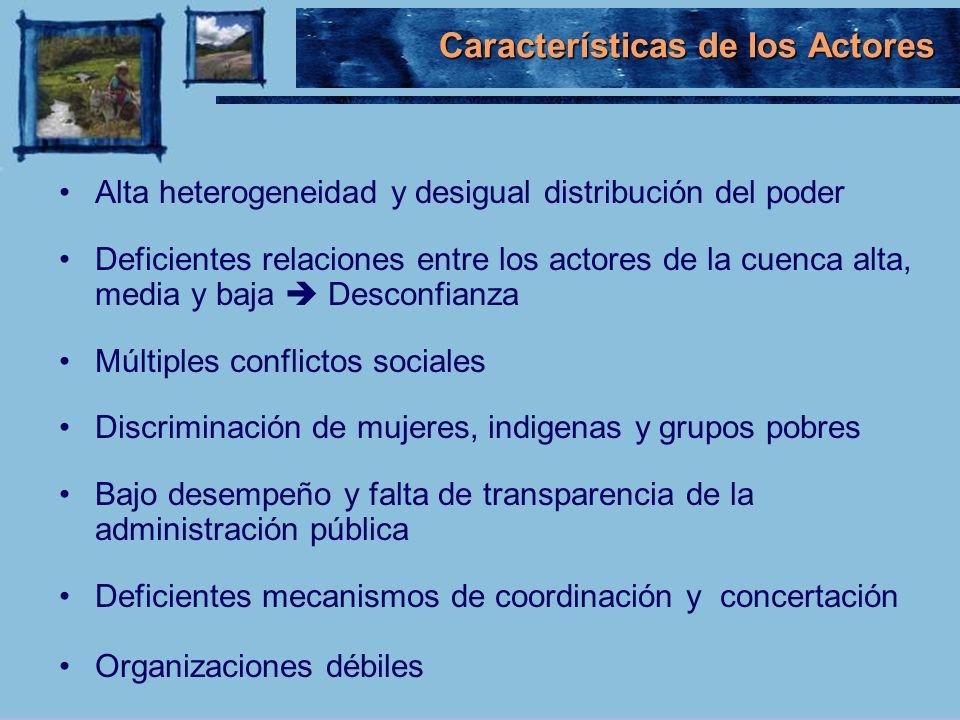 Características de los Actores Alta heterogeneidad y desigual distribución del poder Deficientes relaciones entre los actores de la cuenca alta, media