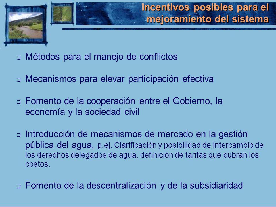 Métodos para el manejo de conflictos Mecanismos para elevar participación efectiva Fomento de la cooperación entre el Gobierno, la economía y la socie