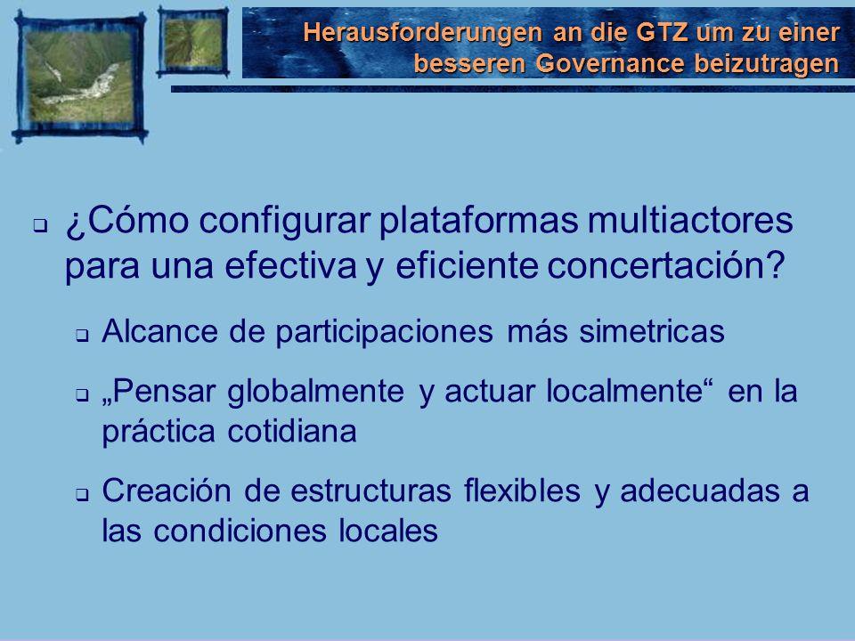 ¿Cómo configurar plataformas multiactores para una efectiva y eficiente concertación? Alcance de participaciones más simetricas Pensar globalmente y a