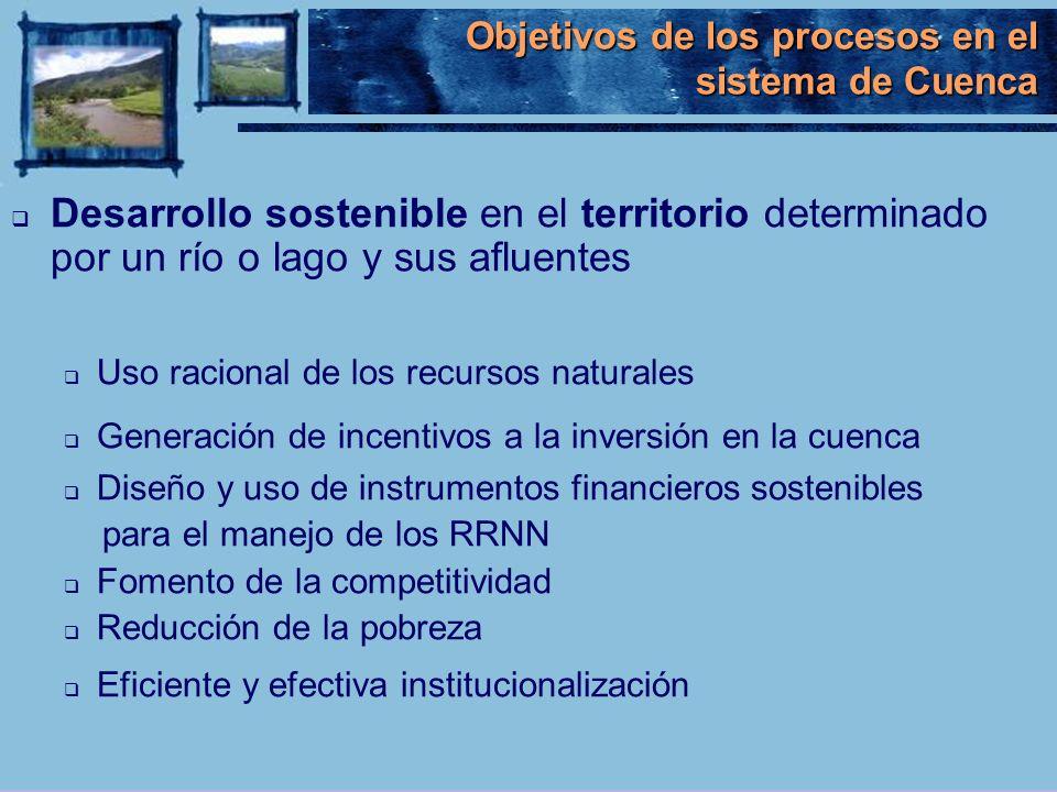Objetivos de los procesos en el sistema de Cuenca Desarrollo sostenible en el territorio determinado por un río o lago y sus afluentes Uso racional de
