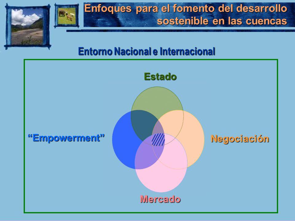 Enfoques para el fomento del desarrollo sostenible en las cuencas EstadoNegociación Mercado EmpowermentEmpowerment Entorno Nacional e Internacional