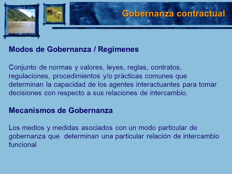 Modos de Gobernanza / Regímenes Conjunto de normas y valores, leyes, reglas, contratos, regulaciones, procedimientos y/o prácticas comunes que determi