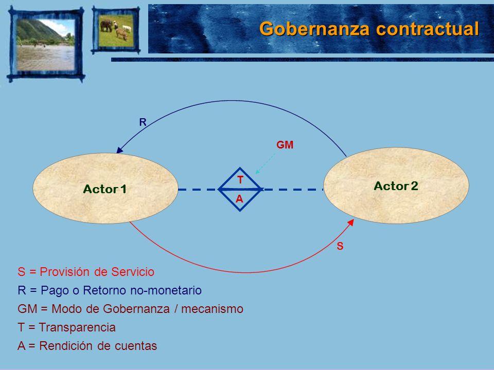 S = Provisión de Servicio R = Pago o Retorno no-monetario GM = Modo de Gobernanza / mecanismo T = Transparencia A = Rendición de cuentas Actor 1 Actor