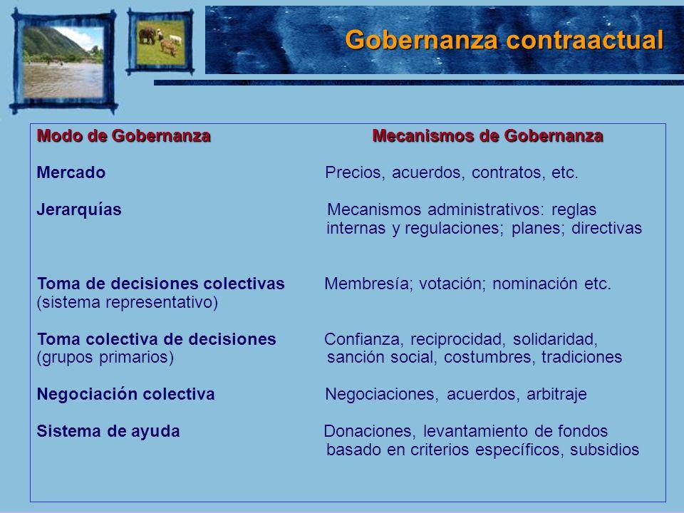 Pasos en el análisis Pasos en el análisis de la Gobernanza 1.Análisis de los problemas en forma sistémica 2.Determinación de las propiedades del bien o servicio 3.Análisis de los actores y sus interrelaciones 4.Análisis de las instituciones 5.Derivación de posibles incentivos 6.Formulación e implementación de estrategias 7.Monitoreo y evaluación