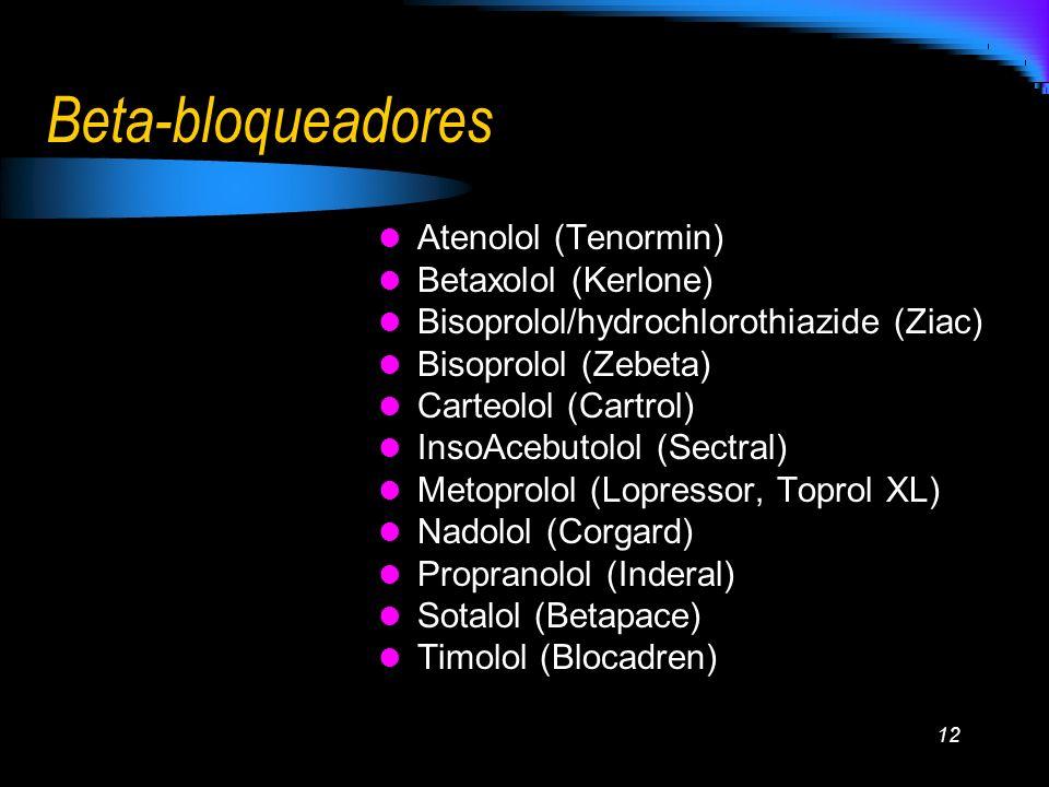 12 Beta-bloqueadores Atenolol (Tenormin) Betaxolol (Kerlone) Bisoprolol/hydrochlorothiazide (Ziac) Bisoprolol (Zebeta) Carteolol (Cartrol) InsoAcebuto