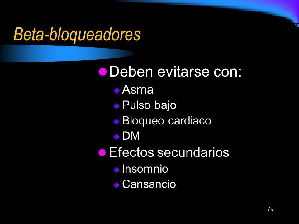 14 Beta-bloqueadores Deben evitarse con: Asma Pulso bajo Bloqueo cardiaco DM Efectos secundarios Insomnio Cansancio