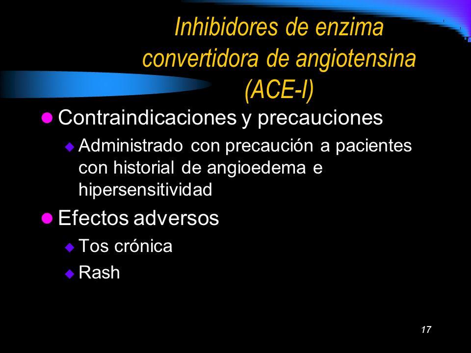 17 Inhibidores de enzima convertidora de angiotensina (ACE-I) Contraindicaciones y precauciones Administrado con precaución a pacientes con historial